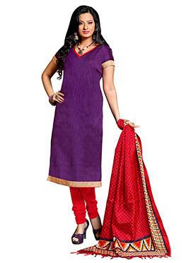 Purple Art Silk Churidar Suit