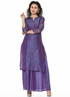 Purple Art Silk Cotton Kurti