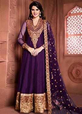 Purple Art Silk Embroidered Floor Length Anarkali