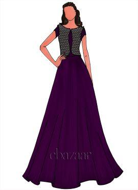 Purple Art Silk Jacket Style Gown Set