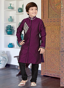 Purple Art Silk Kids Kurta Pyjama