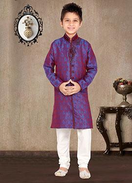 Purple Art Silk Kids Kurta Pyjama
