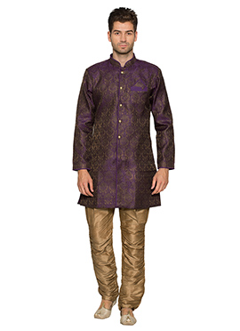Purple Art Silk Kurta Pyjama