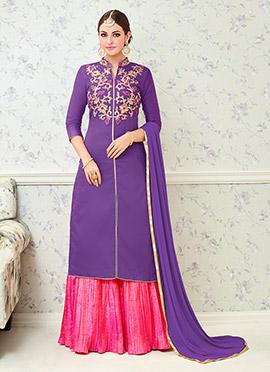 Purple Cotton Long Choli A Line Lehenga