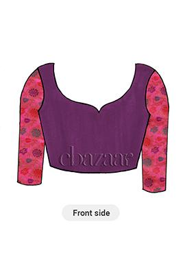 Purple Art Silk Long Sleeve Blouse