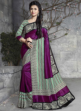 Divyanka Tripathi Purple Art Silk Saree