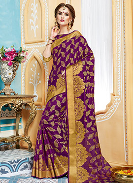 Purple Art Tussar Silk Saree