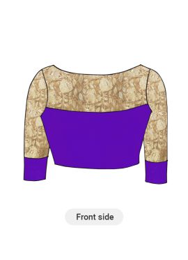 Purple Artsilk Blouse with Gold Embroidered sleeves