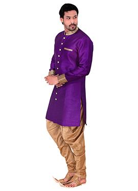 Purple Benarasi Art Silk Achkan Sherwani