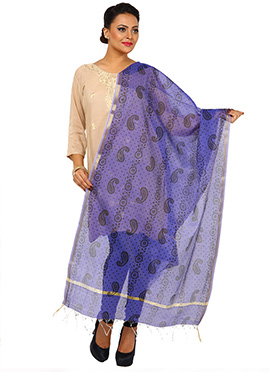 Purple Benarasi Cotton Dupatta