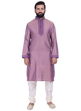 Purple Benarasi Cotton Silk Kurta Pyjama