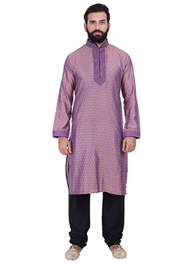 Purple Benarasi Cotton Silk Kurta Pyjama