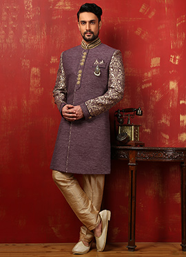 Purple Benarasi Silk Achkan Sherwani