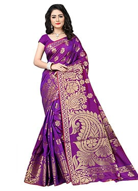 Purple Benarasi Silk Saree