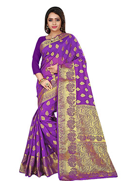 Violet Benarasi Silk Saree