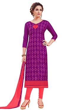 Purple Bhagalpuri Art Silk Churidar Suit