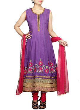 Purple Blended Cotton Anarkali Suit
