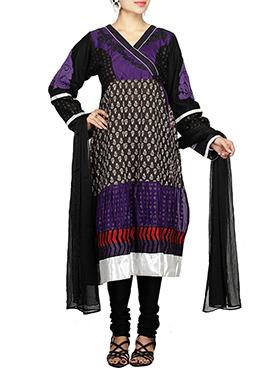 Purple Blended Cotton Churidar Suit