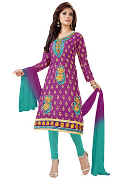 Purple Blended Cotton Churidar Suit