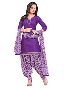 Purple Blended Cotton Patiala Suit