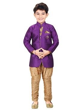 Purple Breeches Style Kids Sherwani