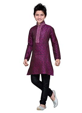 Purple Brocade Embroidered Boys Kurta Pyjama