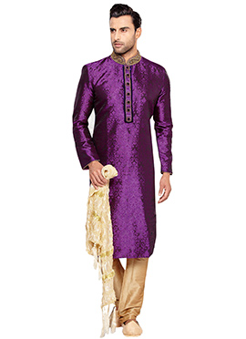 Purple Brocade Kurta Pyjama