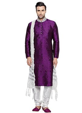 Purple Brocade Kurta Pyjama