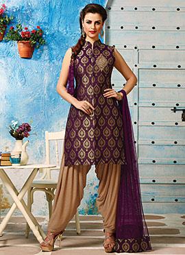 Purple Brocade Patiala Suit