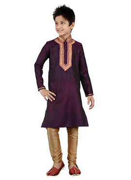 Purple Brocade Teens Kurta Pyjama