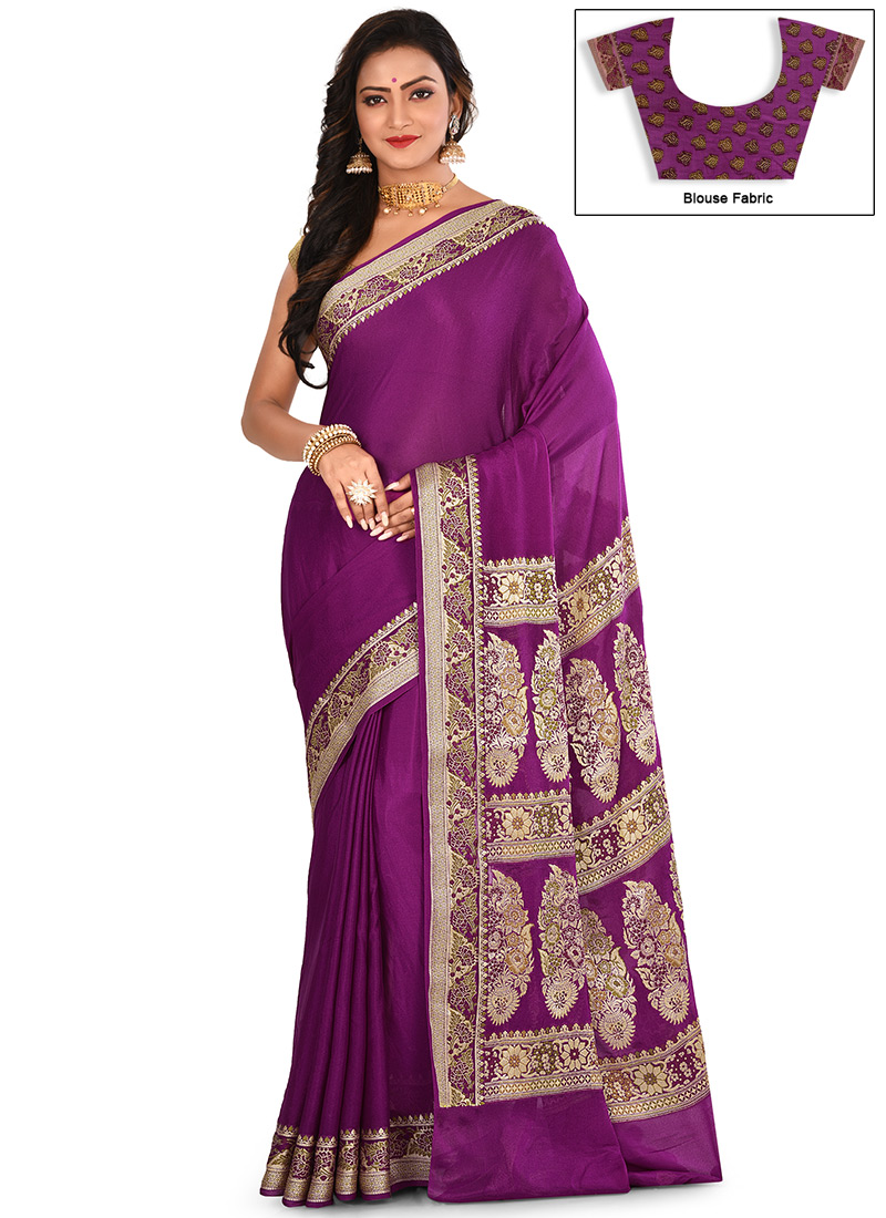 5989df6ce6 Buy Purple Brown Zari Pure Silk Saree, Zari, sari Online Shopping ...