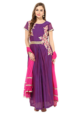 Purple Chanderi Ankle Length Anarkali Suit