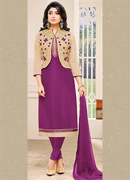 Purple Chanderi Cotton Churidar Suit