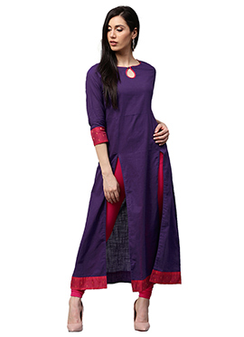 Purple Chanderi Cotton Dress