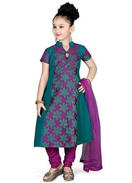 Purple Chanderi Georgette Kids Anarkali Suit