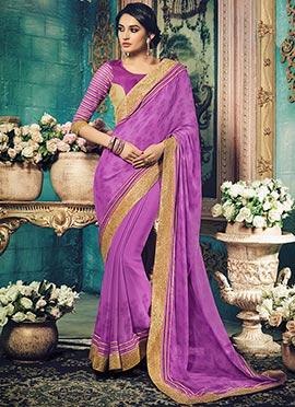 Purple Chiffon Saree