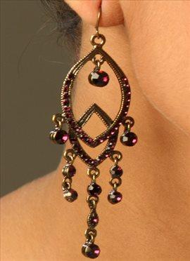 Purple color Stones Chandelier Earrings
