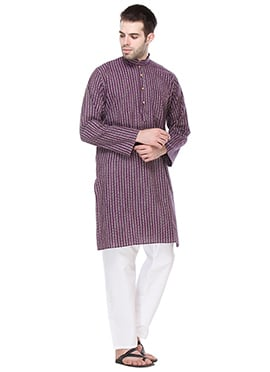 Purple Cotton Printed Striped Kurta