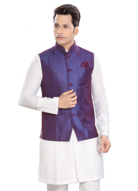Purple Cotton Rayon Nehru Jacket