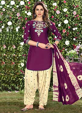 Purple Cotton Salwar Suit