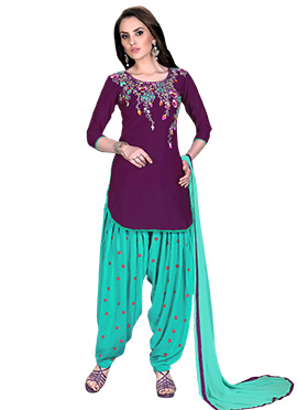 Purple Cotton Salwar Suit