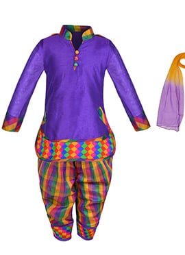 Purple Cotton Silk Kids Patiala Suit