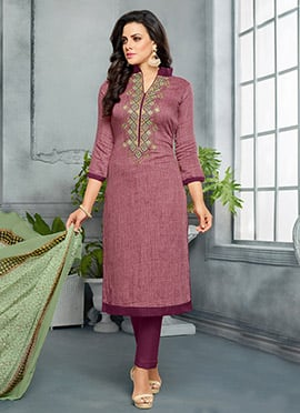 Purple Cotton Straight Suit