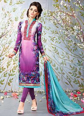 Purple Crepe Churidar Suit