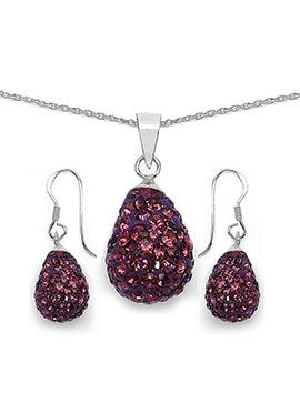 Purple Crystal Stone Pendant Set