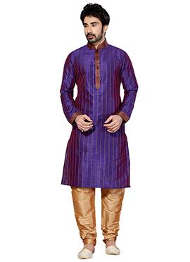 Purple Dupion Silk Kurta Pyjama