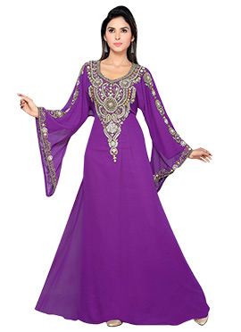 Purple Embellished Georgette Fustan