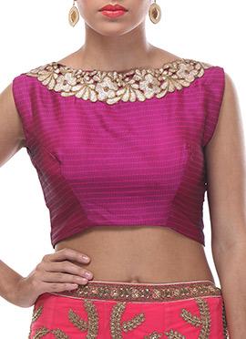 Purple Embellished Silk Blouse