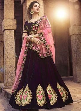 Purple Embroidered A Line Lehenga