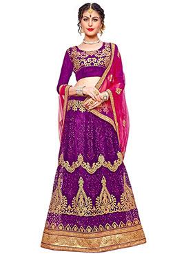 Purple Embroidered A Line Lehenga